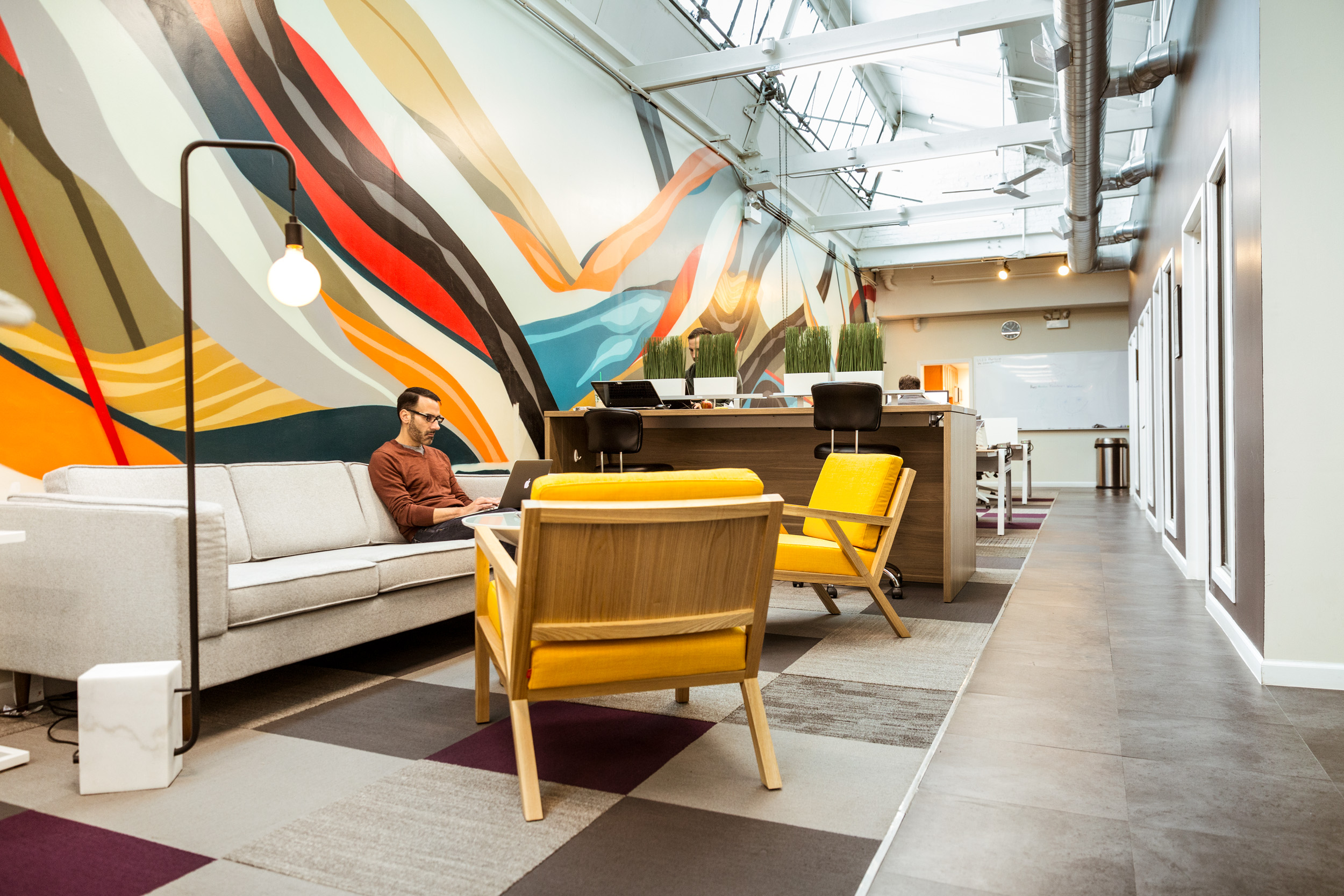 Chicago coworking space with a beautiful lounge for sale